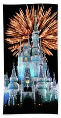 Magic Kingdom Castle In Frosty Light Blue With Fireworks 02 Mp Beach Towel