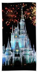 Magic Kingdom Castle In Frosty Light Blue With Fireworks 03 Mp Beach Towel