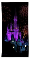 Magic Kingdom Castle In Purple With Fireworks 02 Pm Beach Towel