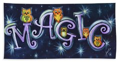 Beach Towel featuring the painting Magic With Owls by Agata Lindquist