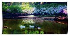 Magical Beauty At The Azalea Pond Beach Sheet by Tamyra Ayles