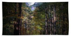 Magical Moonlit Forest Beach Towel by Judy Palkimas
