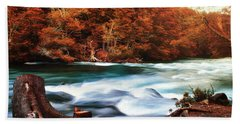 Autumnal Landscape With Lake In The Argentine Patagonia Beach Towel