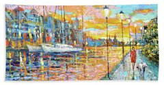 Beach Sheet featuring the painting Magical Sunset by Dmitry Spiros