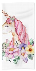 Magical Watercolor Unicorn Beach Towel