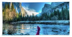 Magical Winter In Yosemite Beach Sheet