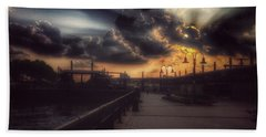 Magnificent Sunset - On The Boardwalk Beach Sheet by Miriam Danar