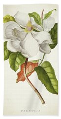 Magnolia Botanical Print Beach Towel
