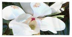 Magnolia Tree Bloom Beach Towel by Debra Crank