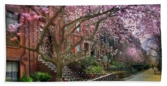 Beach Towel featuring the photograph Magnolia Trees In Spring - Back Bay Boston by Joann Vitali