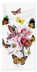 Magnolia With Butterflies Beach Towel