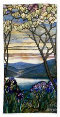 Magnolias And Irises Beach Towel
