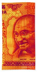 Beach Towel featuring the digital art Mahatma Gandhi 500 Rupees Banknote by Jean luc Comperat