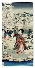 Maids In A Snow Covered Garden Beach Towel