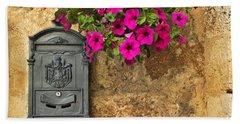 Mailbox With Petunias Beach Towel by Silvia Ganora