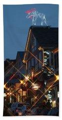 Main Street Bar Harbor 2 Beach Sheet by Living Color Photography Lorraine Lynch