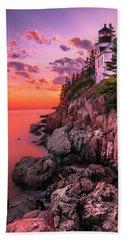 Maine Bass Harbor Lighthouse Sunset Beach Towel