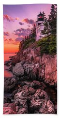 Maine Bass Harbor Lighthouse Sunset Beach Towel