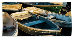 Maine Boats At Sunset Beach Towel