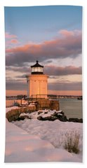 Beach Towel featuring the photograph Maine Bug Light Lighthouse Snow At Sunset by Ranjay Mitra