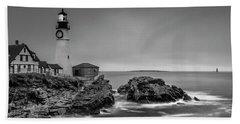 Maine Cape Elizabeth Lighthouse Aka Portland Headlight In Bw Beach Towel