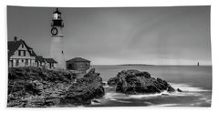 Maine Cape Elizabeth Lighthouse Aka Portland Headlight In Bw Beach Sheet by Ranjay Mitra