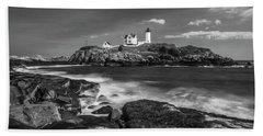 Maine Cape Neddick Lighthouse In Bw Beach Towel