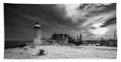 Maine Coastal Storm Over Pemaquid Lighthouse Beach Towel