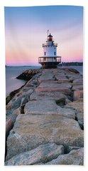 Maine Coastal Sunset Over The Spring Breakwater Lighthouse Beach Towel