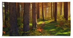 Maine Forest Sunset Beach Towel by David Dehner