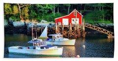 Maine Harbor At Dusk Beach Sheet