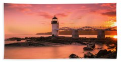 Maine Lighthouse Marshall Point At Sunset Beach Towel