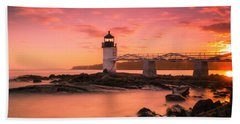 Maine Lighthouse Marshall Point At Sunset Beach Towel