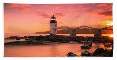 Maine Lighthouse Marshall Point At Sunset Beach Sheet