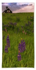 Maine Lupines And Home After Rain And Storm Beach Sheet