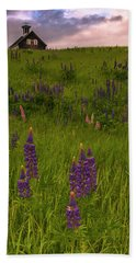 Maine Lupines And Home After Rain And Storm Beach Sheet by Ranjay Mitra