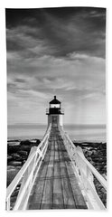Beach Towel featuring the photograph Maine Marshall Point Lighthouse Vertical Panorama In Black And White by Ranjay Mitra