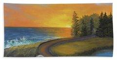 Maine Ocean Sunrise Beach Towel