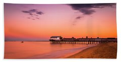 Maine Old Orchard Beach Pier At Sunset Beach Towel