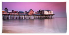 Maine Old Orchard Beach Pier Sunset  Beach Towel
