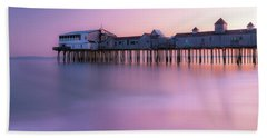 Maine Oob Pier At Sunset Panorama Beach Sheet by Ranjay Mitra