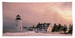 Maine Pemaquid Lighthouse After Winter Snow Storm Beach Towel
