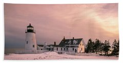 Maine Pemaquid Lighthouse After Winter Snow Storm Beach Towel