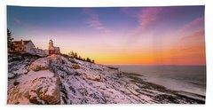 Maine Pemaquid Lighthouse In Winter Snow Beach Towel