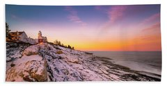 Maine Pemaquid Lighthouse In Winter Snow Beach Towel
