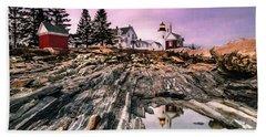 Maine Pemaquid Lighthouse Reflection In Summer Beach Towel