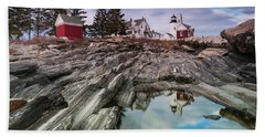 Maine Pemaquid Lighthouse Reflection Beach Sheet by Ranjay Mitra