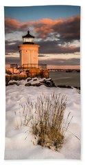 Maine Portland Bug Light Lighthouse Sunset  Beach Towel