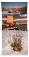 Maine Portland Bug Light Lighthouse Sunset  Beach Sheet