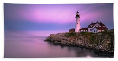 Beach Towel featuring the photograph Maine Portland Headlight Blue Hour Panorama by Ranjay Mitra
